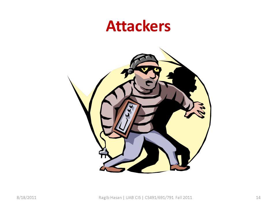 Attackers 8/18/2011Ragib Hasan | UAB CIS | CS491/691/791 Fall 201114