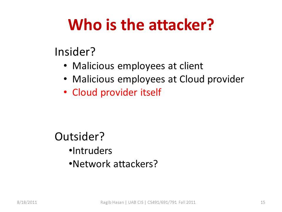 Who is the attacker.8/18/2011Ragib Hasan | UAB CIS | CS491/691/791 Fall 201115 Insider.
