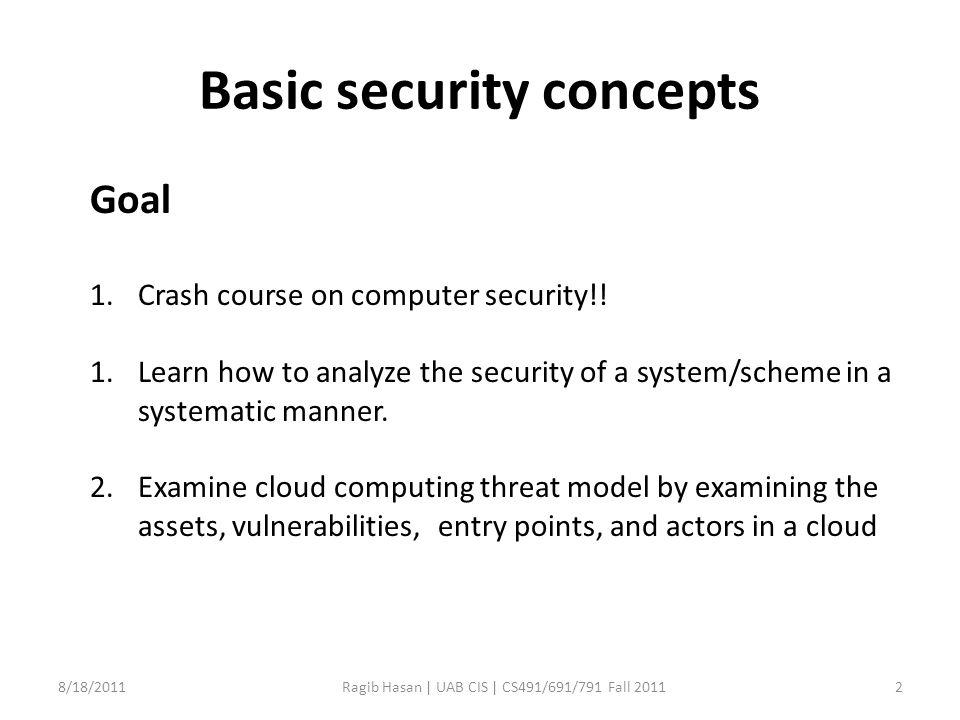 Basic security concepts 8/18/2011Ragib Hasan | UAB CIS | CS491/691/791 Fall 20112 Goal 1.Crash course on computer security!.