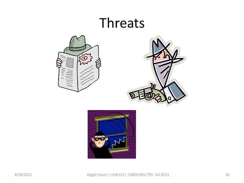 Threats 8/18/2011Ragib Hasan | UAB CIS | CS491/691/791 Fall 201126