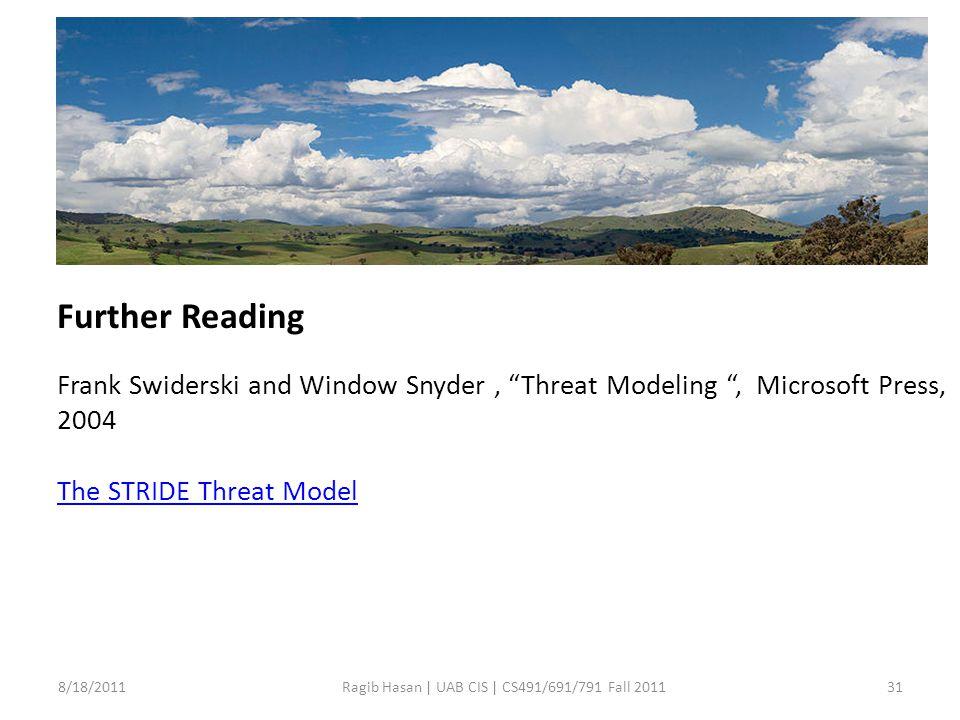 8/18/201131Ragib Hasan | UAB CIS | CS491/691/791 Fall 2011 Further Reading Frank Swiderski and Window Snyder, Threat Modeling , Microsoft Press, 2004 The STRIDE Threat Model