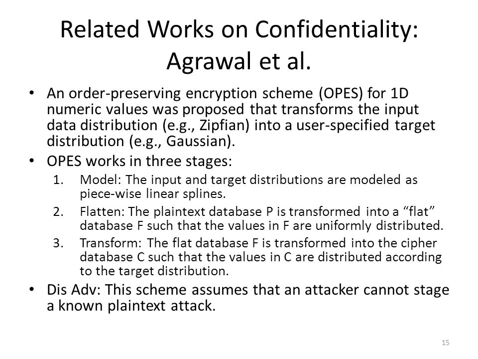 Related Works on Confidentiality: Agrawal et al.