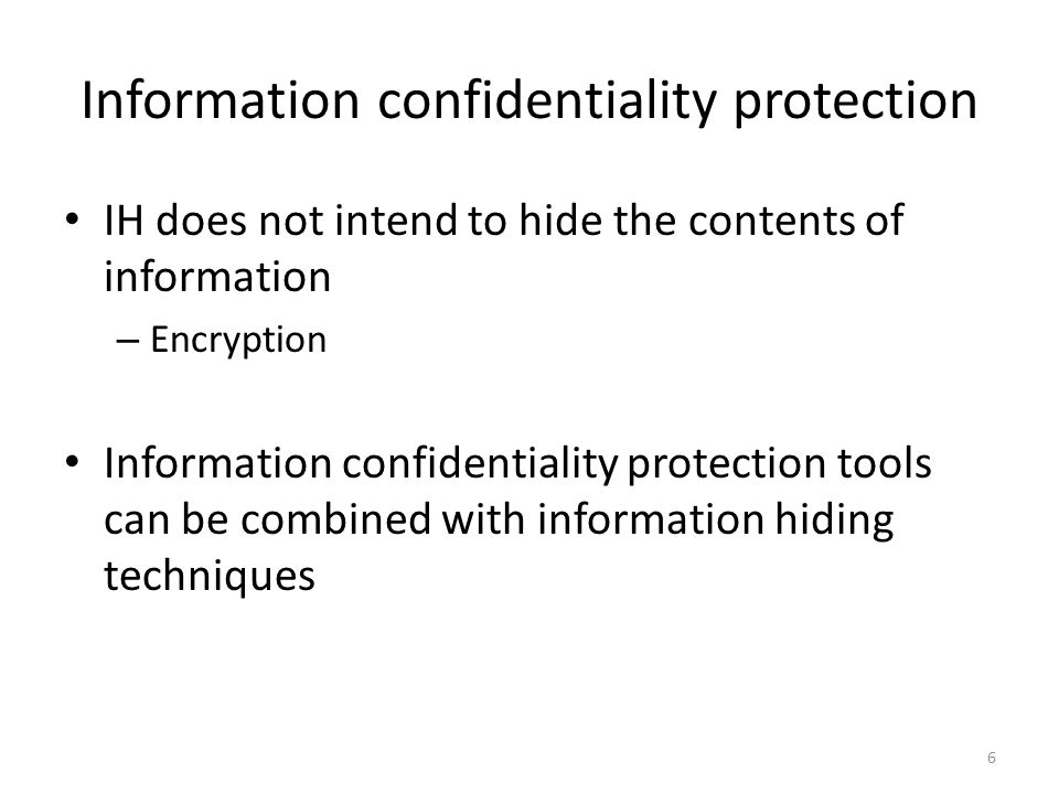 Applications, or why we need to hide information Improve confidentiality by hiding the very existence of messages Prove ownership on digital media Fingerprint media for trace back Blocking resistance Forensics … 7