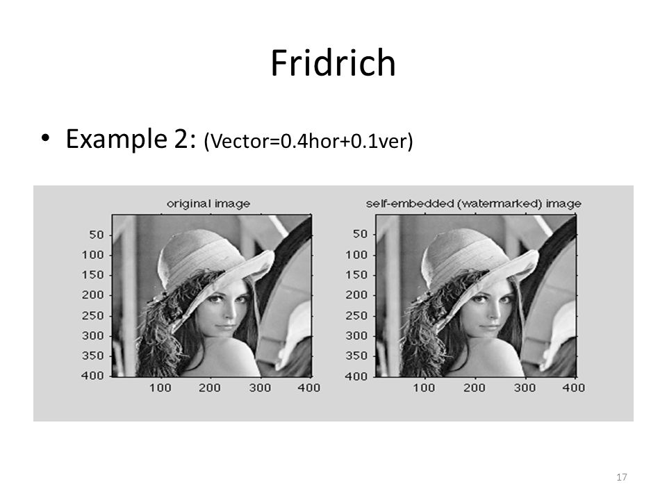 Fridrich Example 2: (Vector=0.4hor+0.1ver) 17