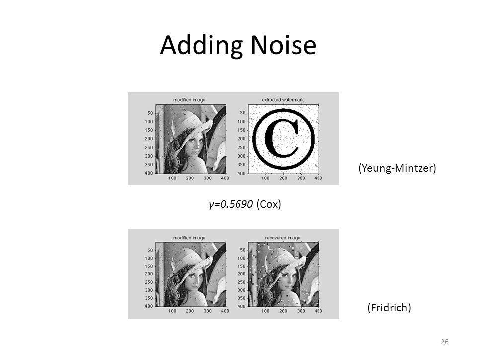 Adding Noise γ=0.5690(Cox) (Yeung-Mintzer) (Fridrich) 26