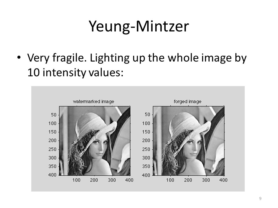 Yeung-Mintzer Very fragile. Lighting up the whole image by 10 intensity values: 9