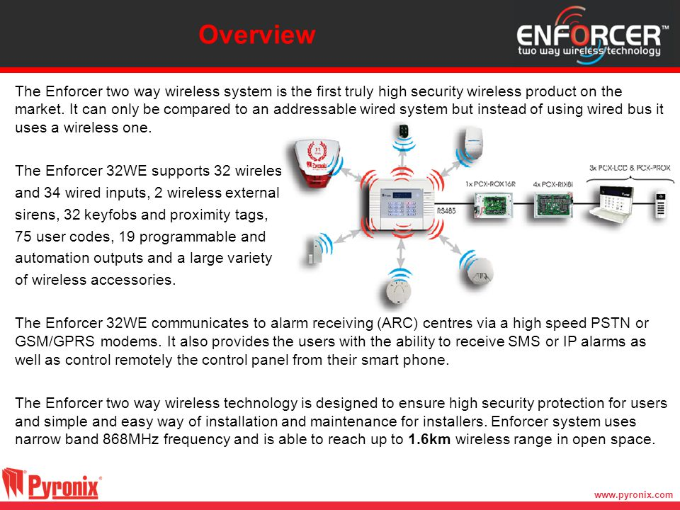 www.pyronix.com The Enforcer two way wireless system is the first truly high security wireless product on the market. It can only be compared to an ad
