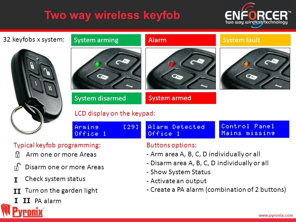 www.pyronix.com Two way wireless keyfob System armingAlarmSystem fault System disarmed System armed Arm one or more Areas Disarm one or more Areas Che