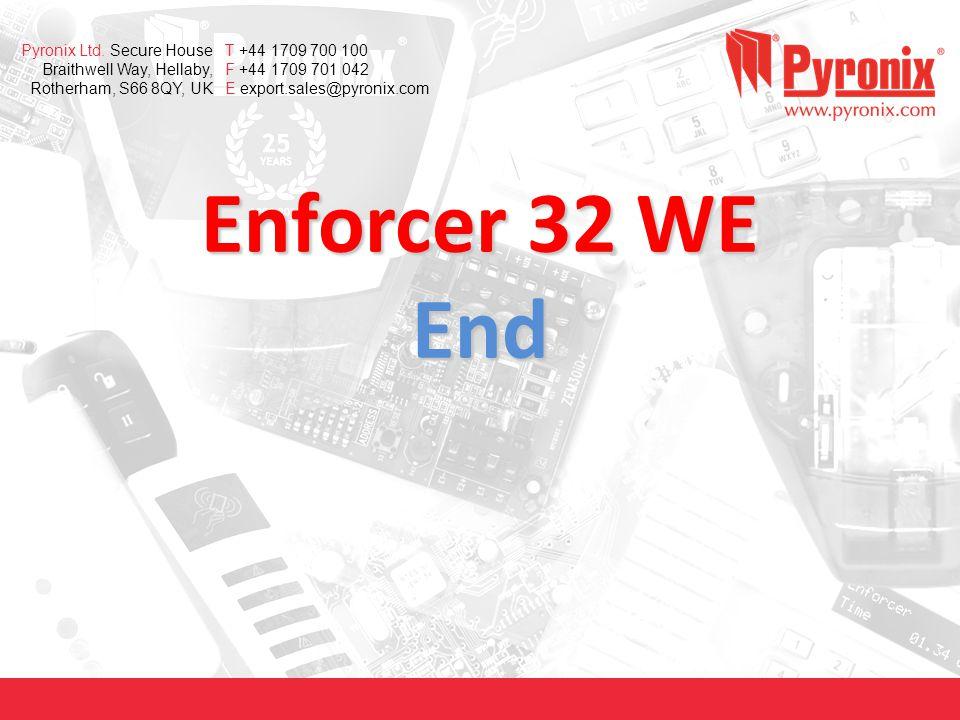 www.pyronix.com Pyronix Ltd. Secure House Braithwell Way, Hellaby, Rotherham, S66 8QY, UK T +44 1709 700 100 F +44 1709 701 042 E export.sales@pyronix