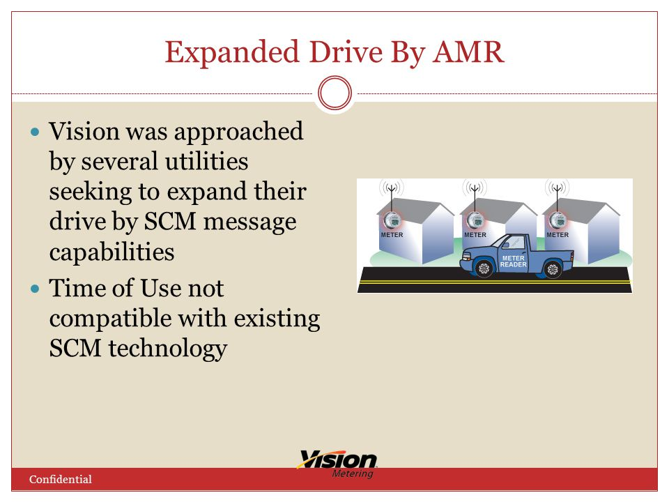 Expanded Drive By AMR Vision was approached by several utilities seeking to expand their drive by SCM message capabilities Time of Use not compatible with existing SCM technology Confidential