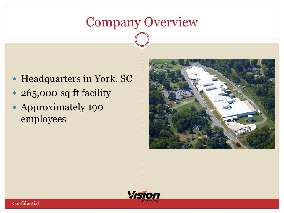 Company Overview Headquarters in York, SC 265,000 sq ft facility Approximately 190 employees Confidential