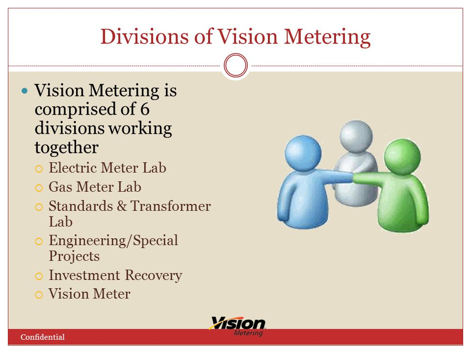 Divisions of Vision Metering Confidential Vision Metering is comprised of 6 divisions working together  Electric Meter Lab  Gas Meter Lab  Standards & Transformer Lab  Engineering/Special Projects  Investment Recovery  Vision Meter