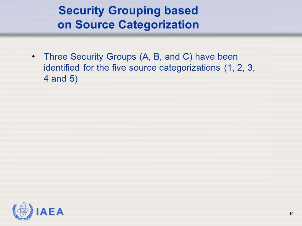 IAEA 10 Security Grouping based on Source Categorization Three Security Groups (A, B, and C) have been identified for the five source categorizations