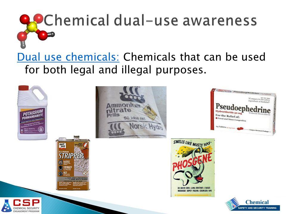 Four Mains areas of focus: 1.Drug precursors 2.Chemical weapons 3.Explosives 4.Chemical weapon precursors