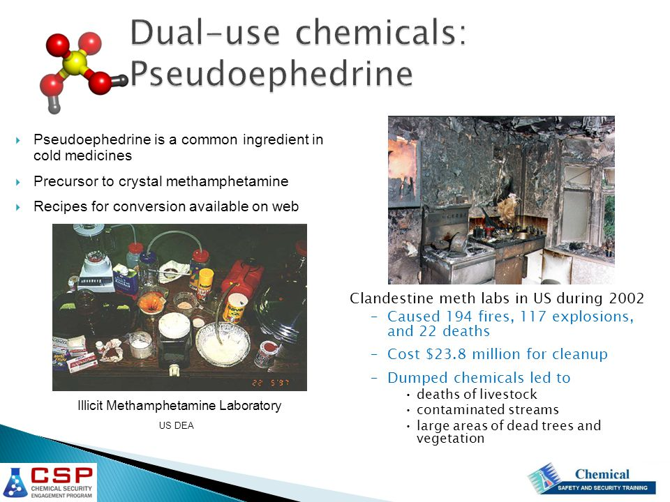 Dual-use chemicals: Pseudoephedrine Dual-use chemicals: Pseudoephedrine  Pseudoephedrine is a common ingredient in cold medicines  Precursor to crystal methamphetamine  Recipes for conversion available on web US DEA Illicit Methamphetamine Laboratory Clandestine meth labs in US during 2002 –Caused 194 fires, 117 explosions, and 22 deaths –Cost $23.8 million for cleanup –Dumped chemicals led to deaths of livestock contaminated streams large areas of dead trees and vegetation