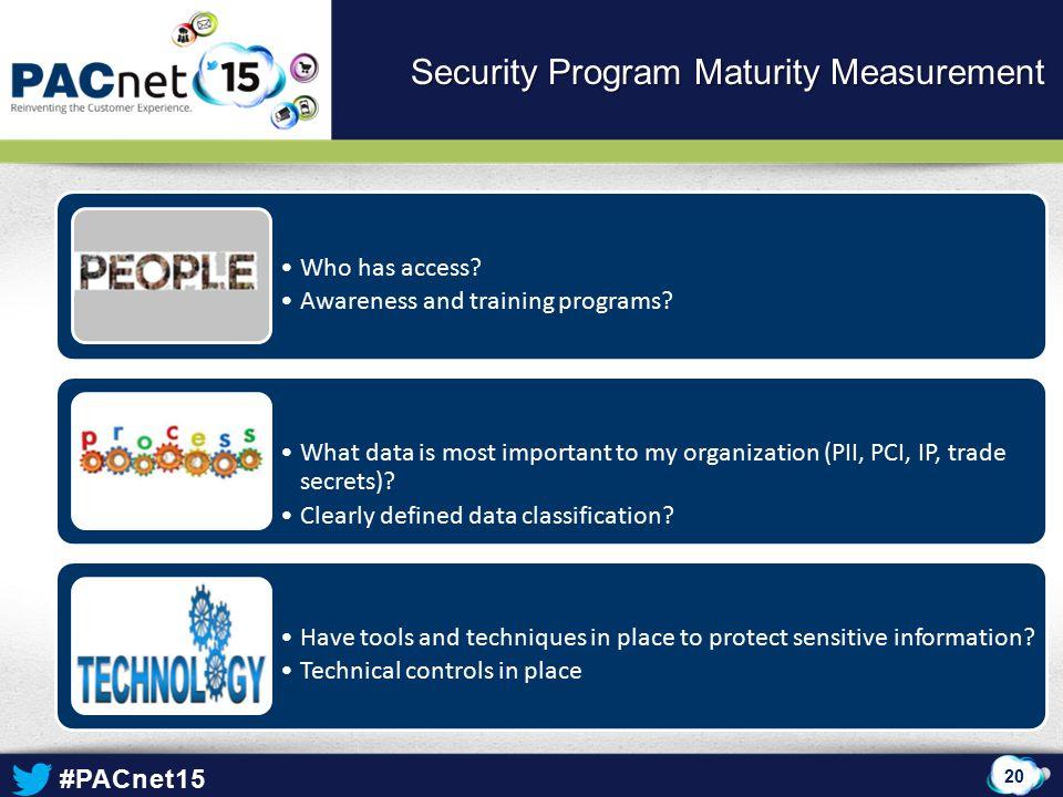 #PACnet15 20 Security Program Maturity Measurement Who has access.