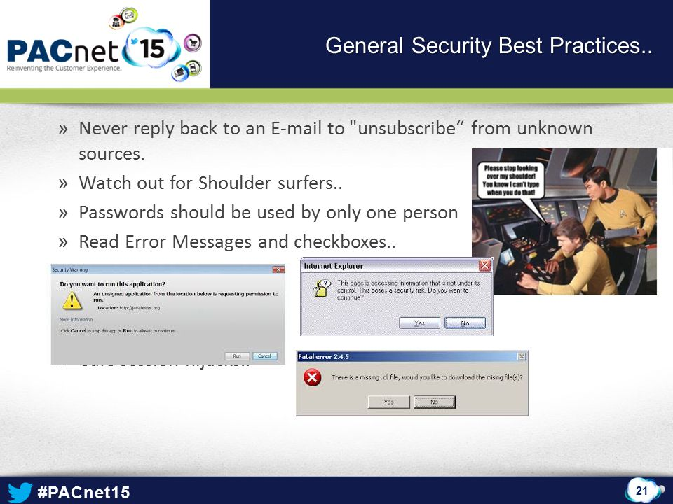 #PACnet15 » Never reply back to an E-mail to unsubscribe from unknown sources.