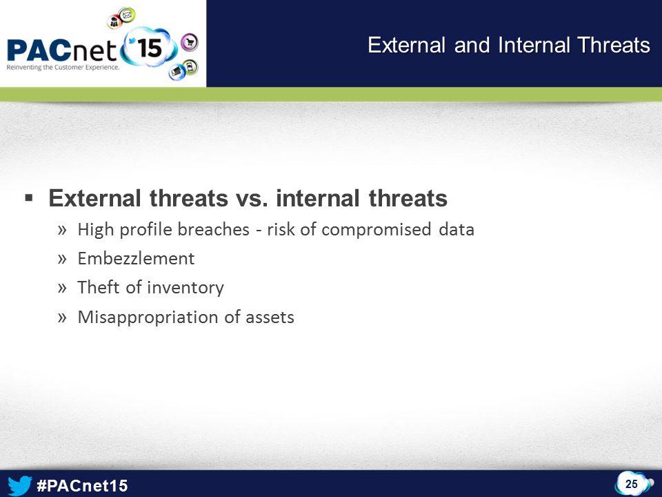#PACnet15  External threats vs.