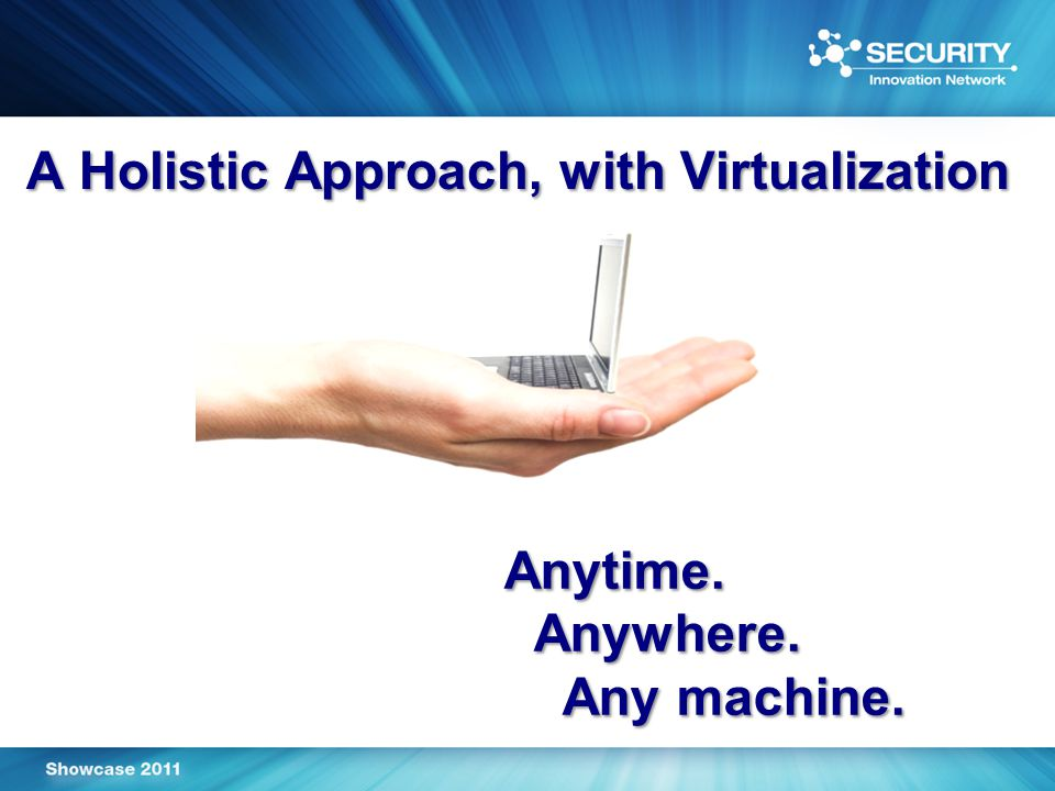 A Holistic Approach, with Virtualization Anytime. Anywhere. Any machine.
