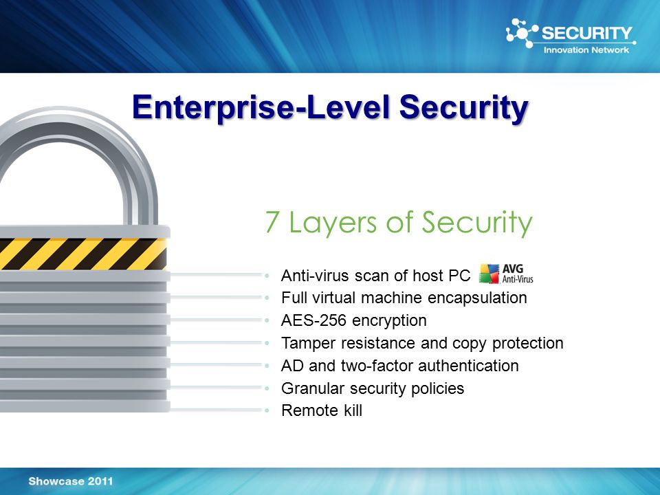 Enterprise-Level Security 7 Layers of Security Anti-virus scan of host PC Full virtual machine encapsulation AES-256 encryption Tamper resistance and copy protection AD and two-factor authentication Granular security policies Remote kill