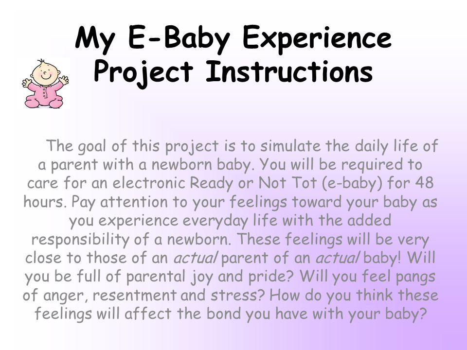 My E-Baby Experience Project Instructions The goal of this project is to simulate the daily life of a parent with a newborn baby.