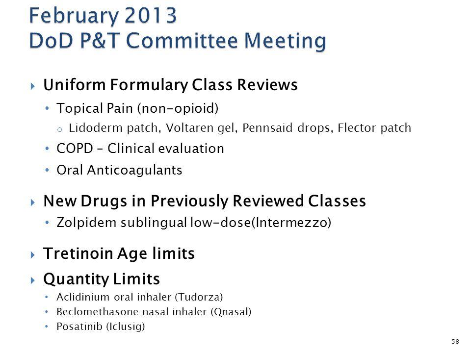  Uniform Formulary Class Reviews Topical Pain (non-opioid) o Lidoderm patch, Voltaren gel, Pennsaid drops, Flector patch COPD – Clinical evaluation O