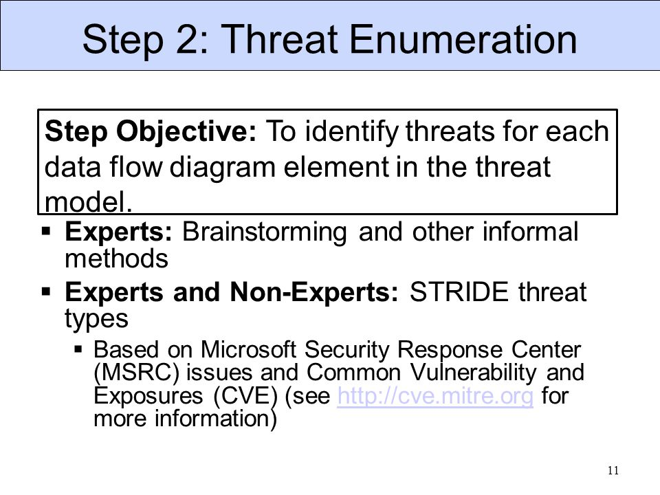 Step 2: Threat Enumeration  Experts: Brainstorming and other informal methods  Experts and Non-Experts: STRIDE threat types  Based on Microsoft Security Response Center (MSRC) issues and Common Vulnerability and Exposures (CVE) (see http://cve.mitre.org for more information)http://cve.mitre.org 11 Step Objective: To identify threats for each data flow diagram element in the threat model.