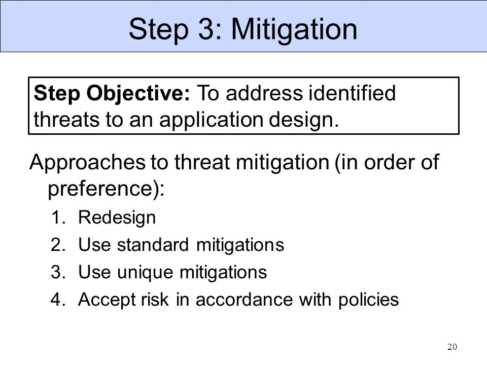Step 3: Mitigation 20 Step Objective: To address identified threats to an application design. Approaches to threat mitigation (in order of preference)