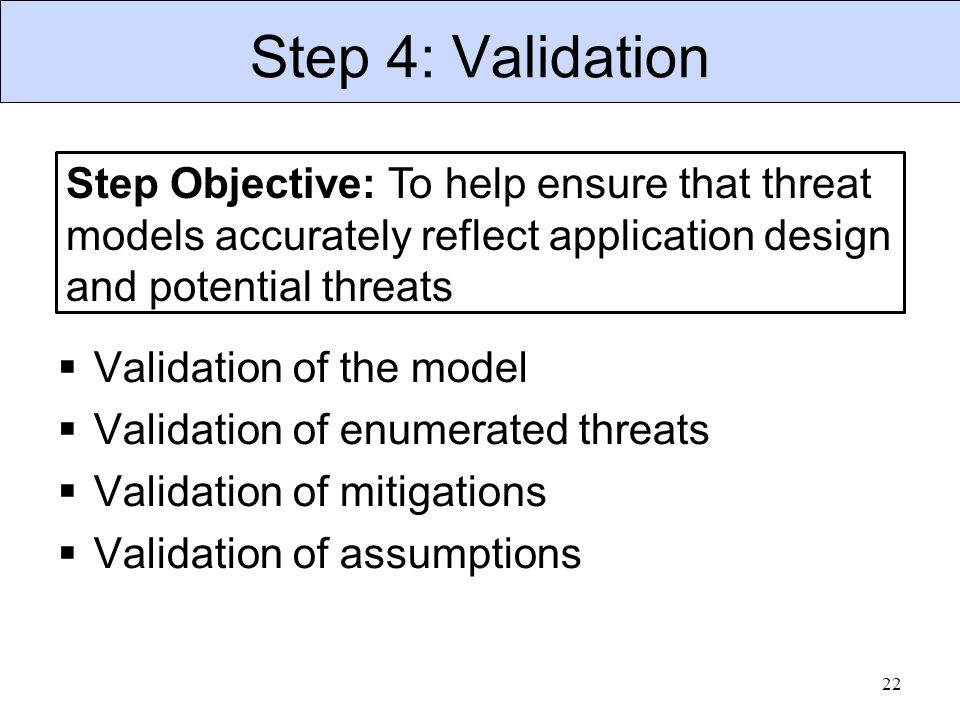 Step 4: Validation 22 Step Objective: To help ensure that threat models accurately reflect application design and potential threats  Validation of the model  Validation of enumerated threats  Validation of mitigations  Validation of assumptions