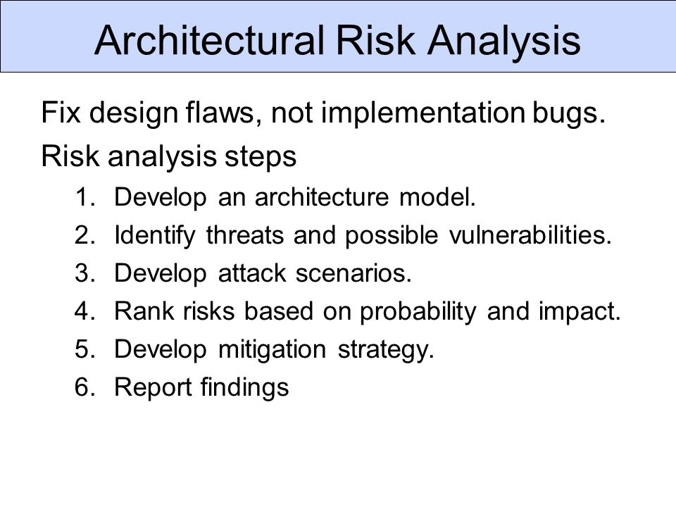 Architectural Risk Analysis Fix design flaws, not implementation bugs.