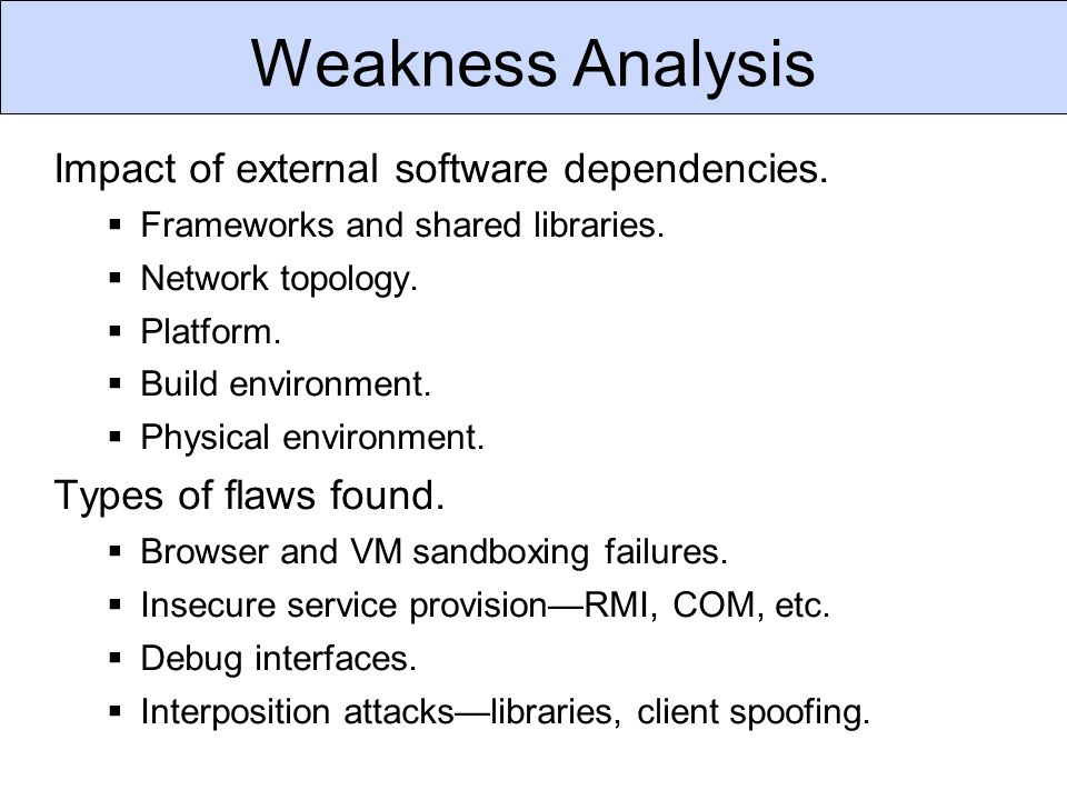 Weakness Analysis Impact of external software dependencies.  Frameworks and shared libraries.  Network topology.  Platform.  Build environment. 