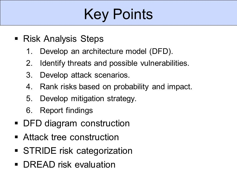 Key Points  Risk Analysis Steps 1.Develop an architecture model (DFD).