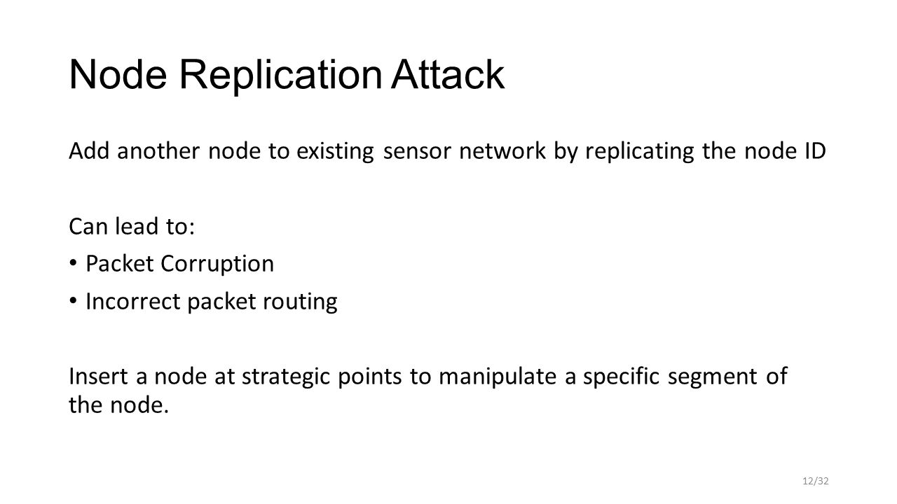 Node Replication Attack Add another node to existing sensor network by replicating the node ID Can lead to: Packet Corruption Incorrect packet routing Insert a node at strategic points to manipulate a specific segment of the node.