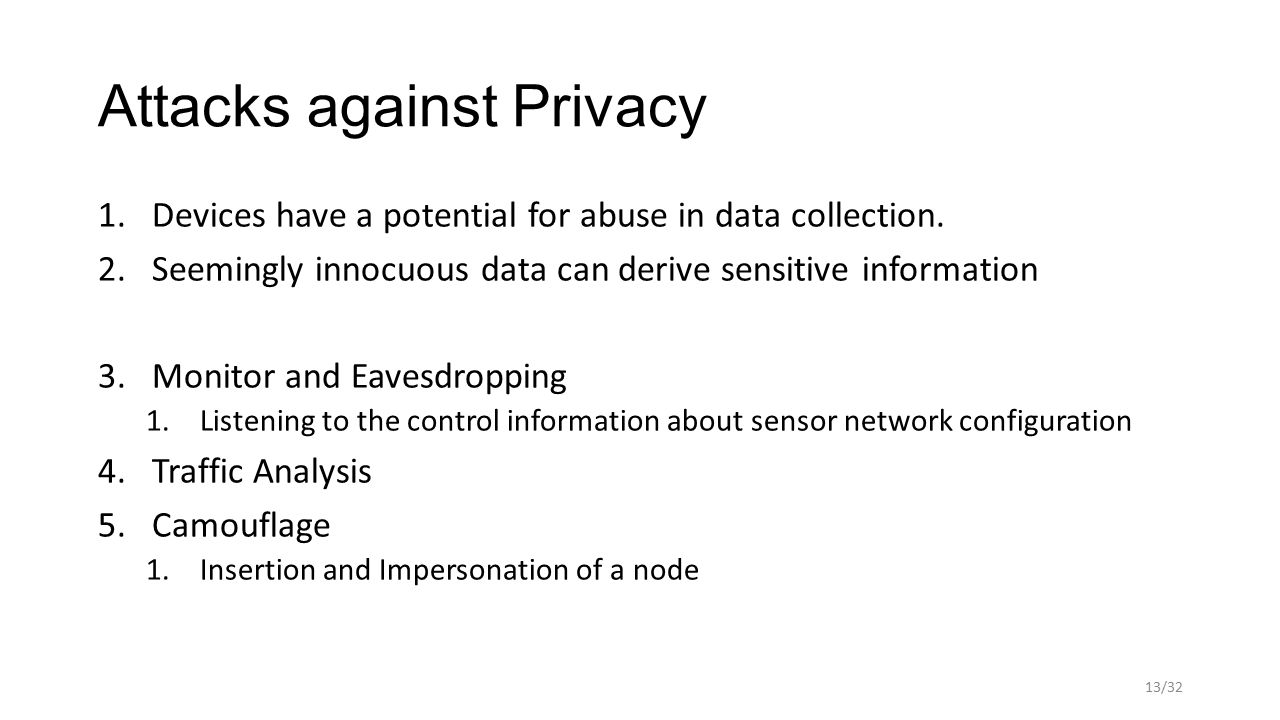 Attacks against Privacy 1.Devices have a potential for abuse in data collection.