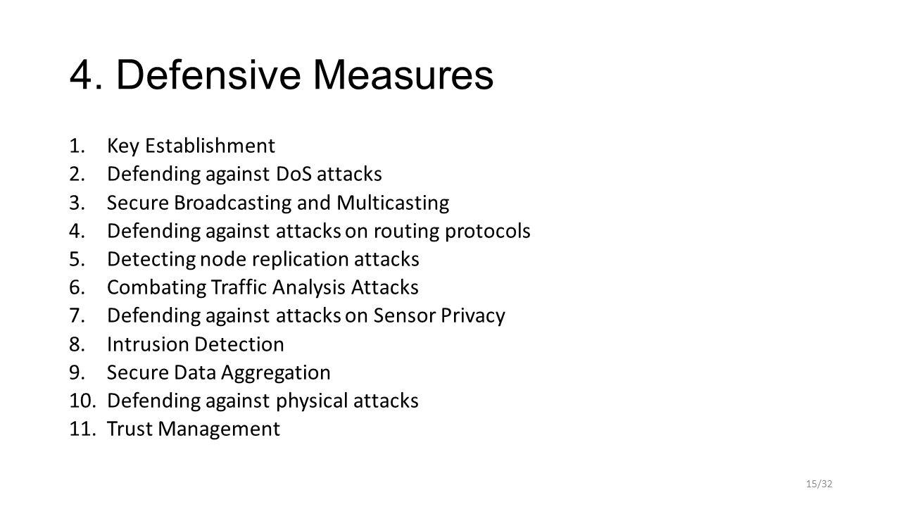4. Defensive Measures 1.Key Establishment 2.Defending against DoS attacks 3.Secure Broadcasting and Multicasting 4.Defending against attacks on routin