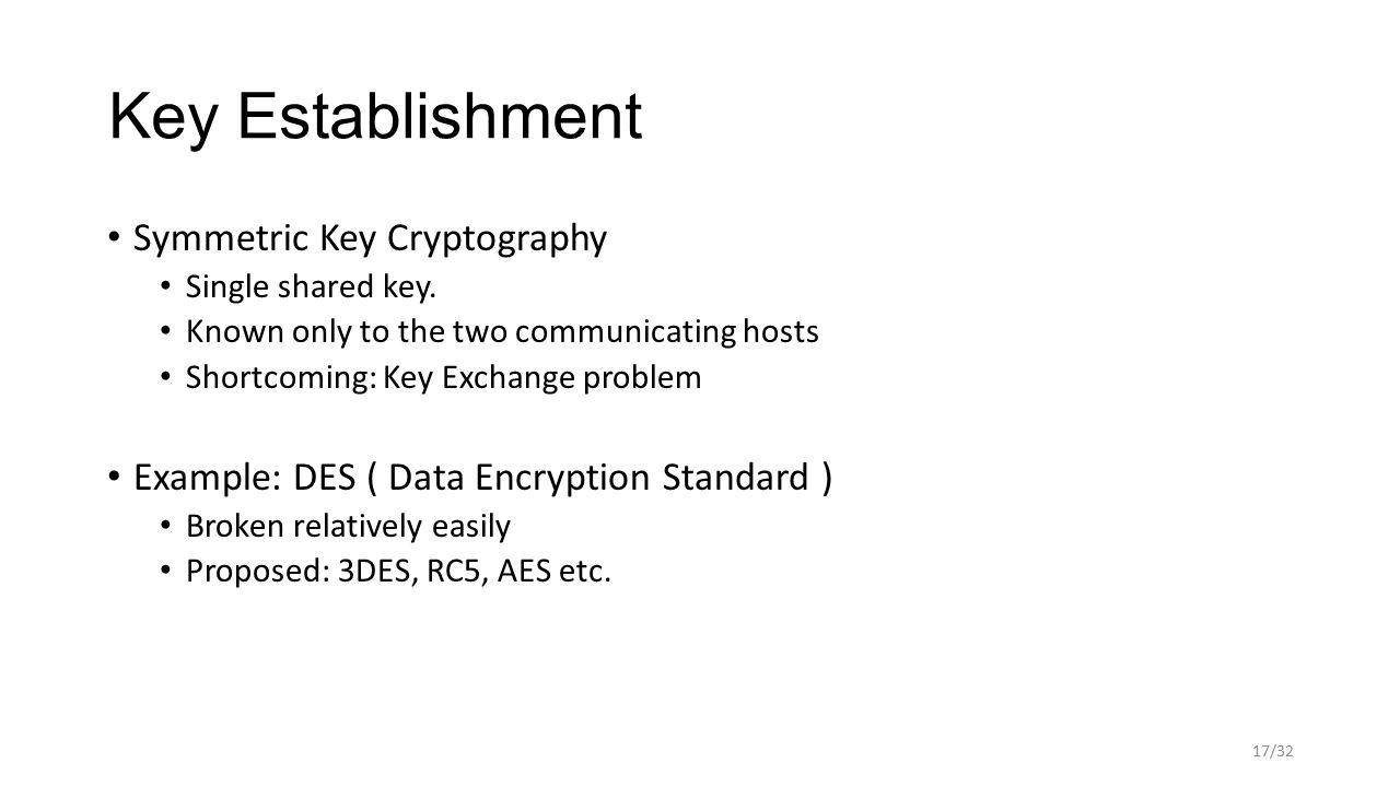 Key Establishment Symmetric Key Cryptography Single shared key.