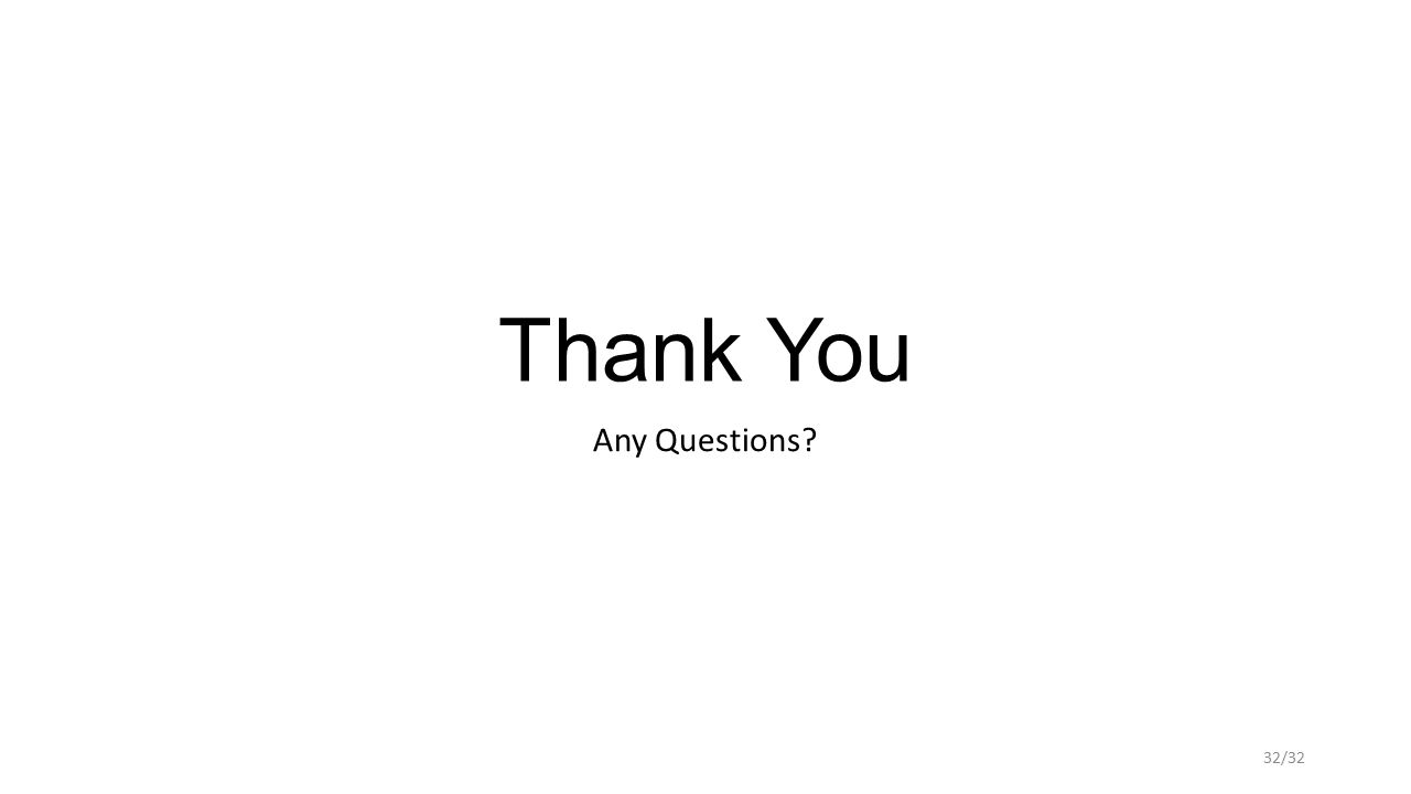 Thank You Any Questions? 32/32