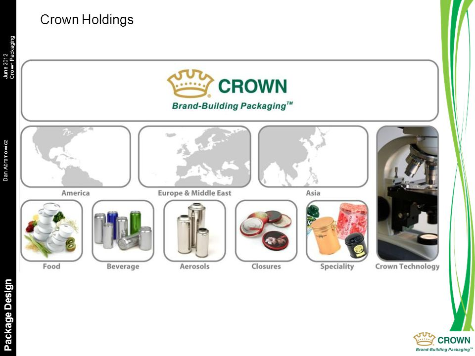 Dan AbramowiczJune 2012 Crown Packaging Package Design Crown Holdings