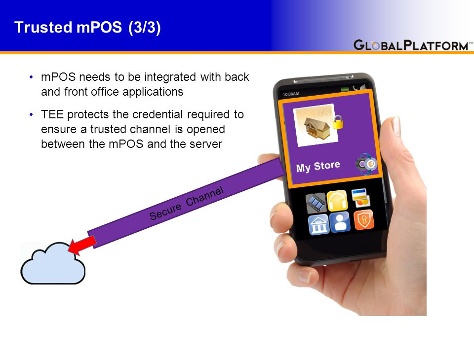 TM mPOS needs to be integrated with back and front office applications TEE protects the credential required to ensure a trusted channel is opened between the mPOS and the server Trusted mPOS (3/3) Rich OS My Store Secure Channel
