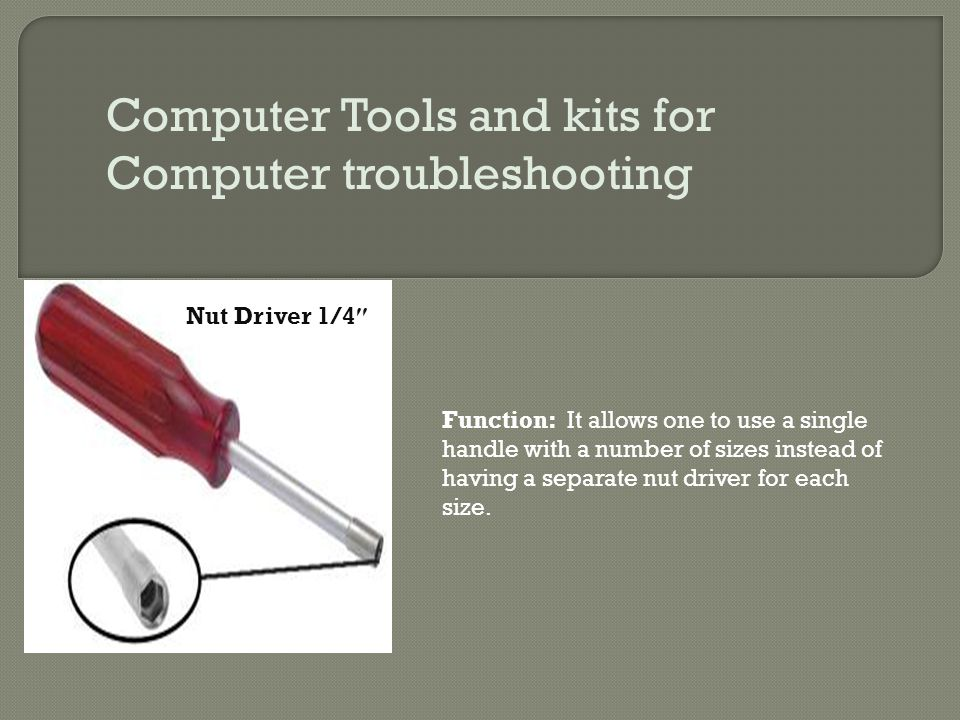 Computer Tools and kits for Computer troubleshooting Nut Driver 1/4 ″ Function: It allows one to use a single handle with a number of sizes instead of