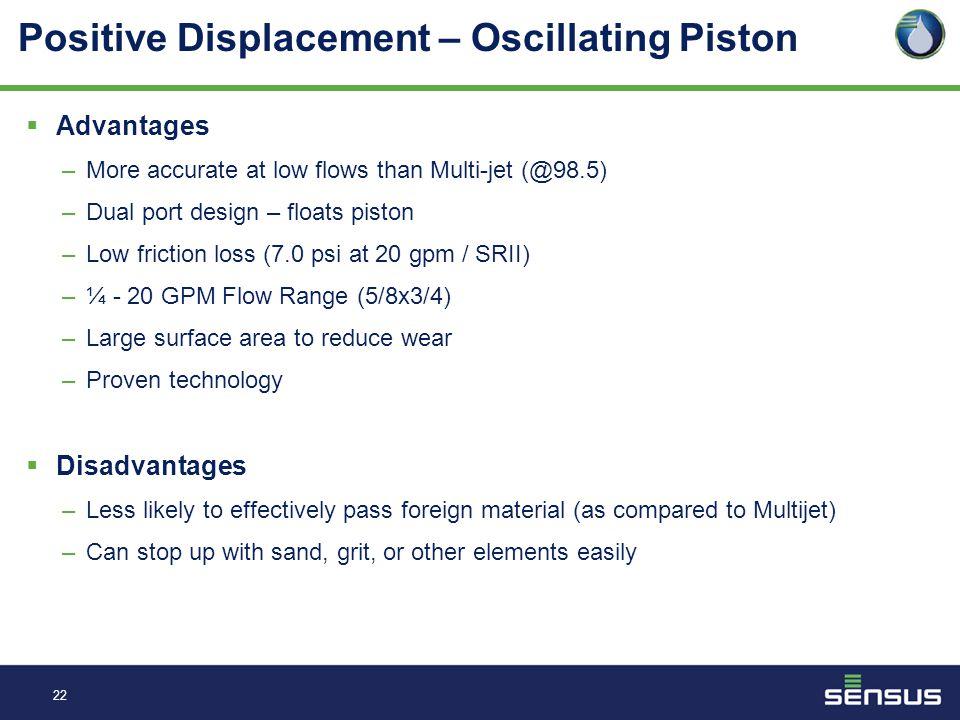 21 Positive Displacement – Oscillating Piston  Characteristics Volumetric-type meter C700 Floating piston ¼ - 20 GPM Flow Range (5/8x3/4)