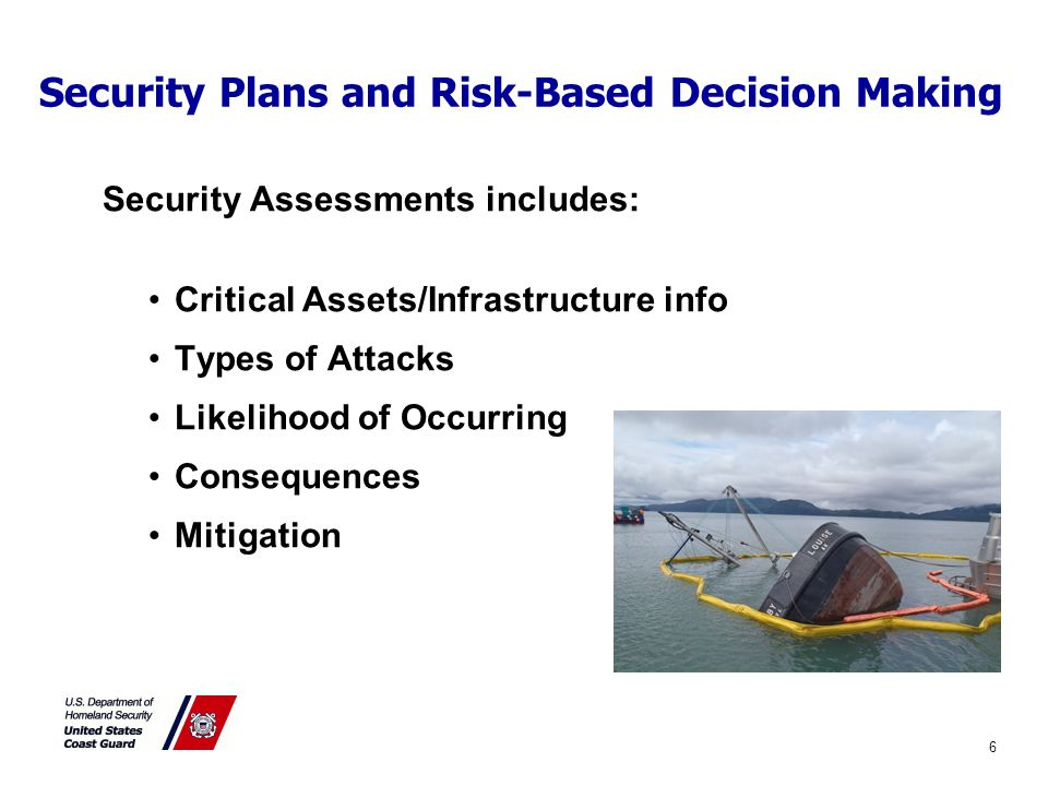Security Plans and Risk-Based Decision Making Security Assessments includes: Critical Assets/Infrastructure info Types of Attacks Likelihood of Occurring Consequences Mitigation 6