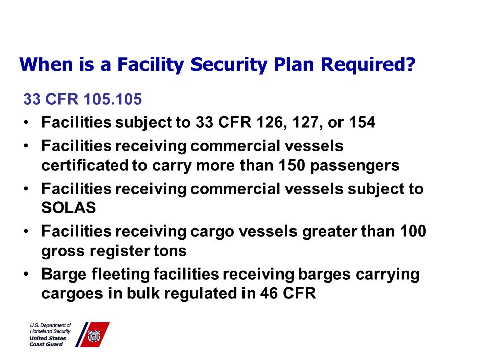 When is a Vessel Security Plan Required.