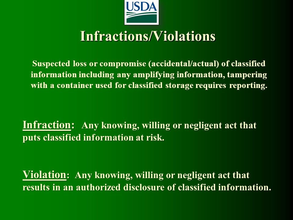 Infractions/Violations Suspected loss or compromise (accidental/actual) of classified information including any amplifying information, tampering with