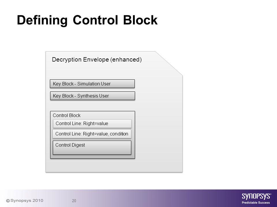 20 Defining Control Block Key Block - Simulation User Decryption Envelope (enhanced) Key Block - Synthesis User Control Block Control Line: Right=valu