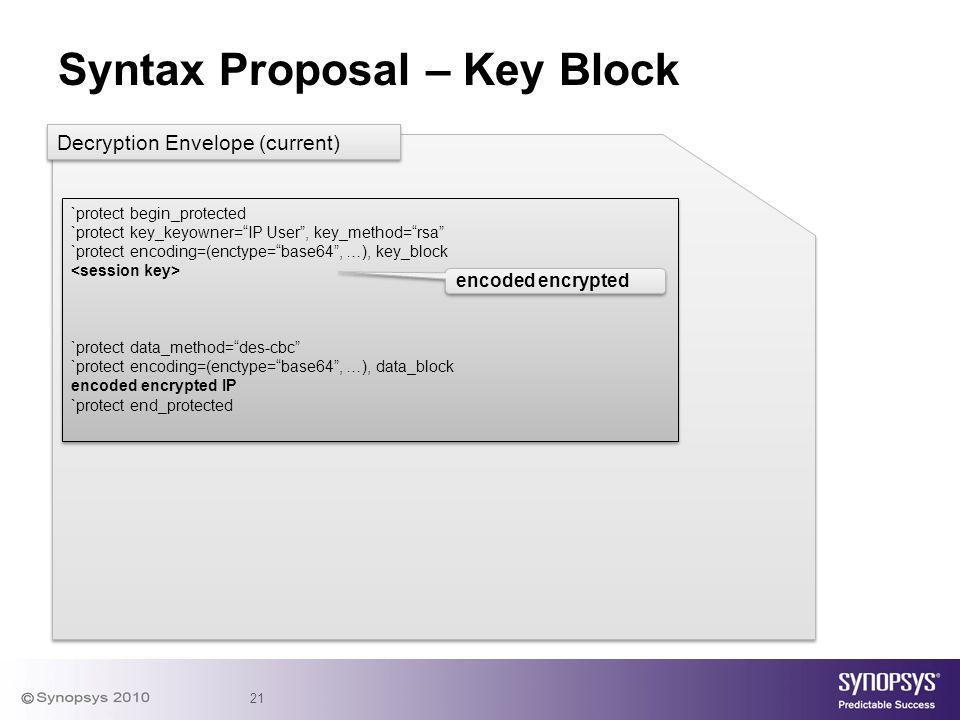 "21 Syntax Proposal – Key Block `protect begin_protected `protect key_keyowner=""IP User"", key_method=""rsa"" `protect encoding=(enctype=""base64"", …), key"