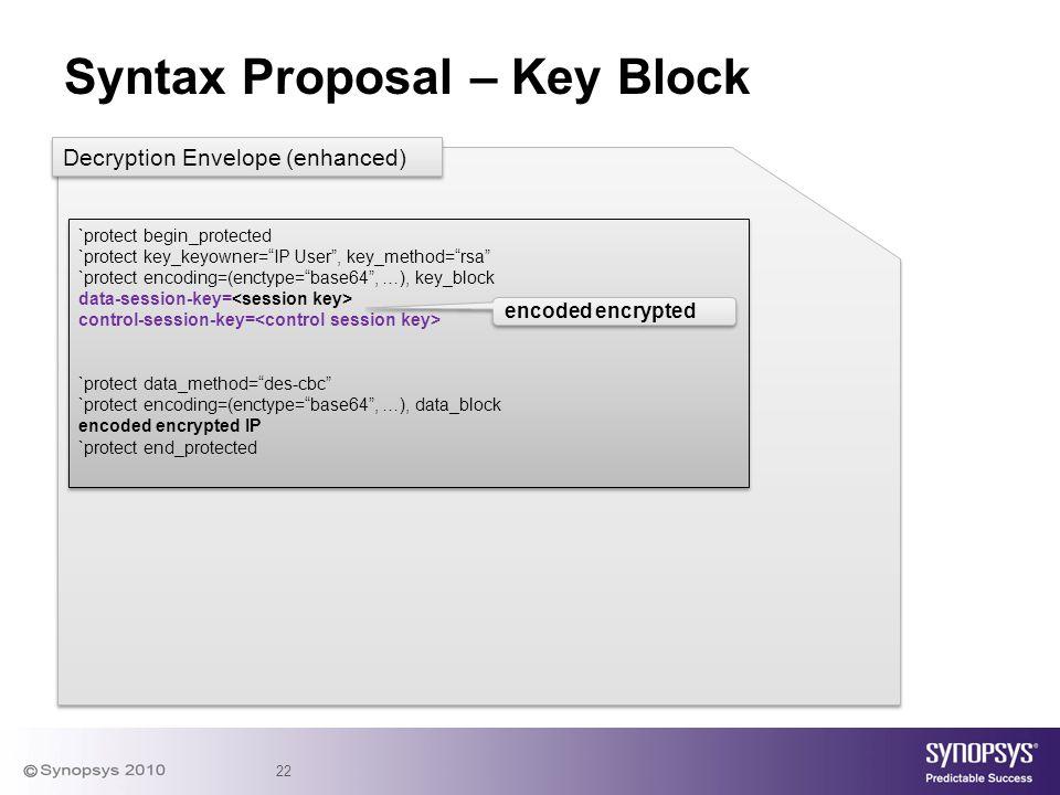 "22 Syntax Proposal – Key Block `protect begin_protected `protect key_keyowner=""IP User"", key_method=""rsa"" `protect encoding=(enctype=""base64"", …), key"