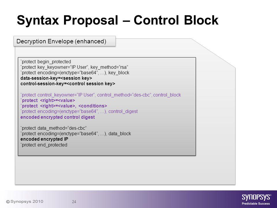 "24 Syntax Proposal – Control Block `protect begin_protected `protect key_keyowner=""IP User"", key_method=""rsa"" `protect encoding=(enctype=""base64"", …),"