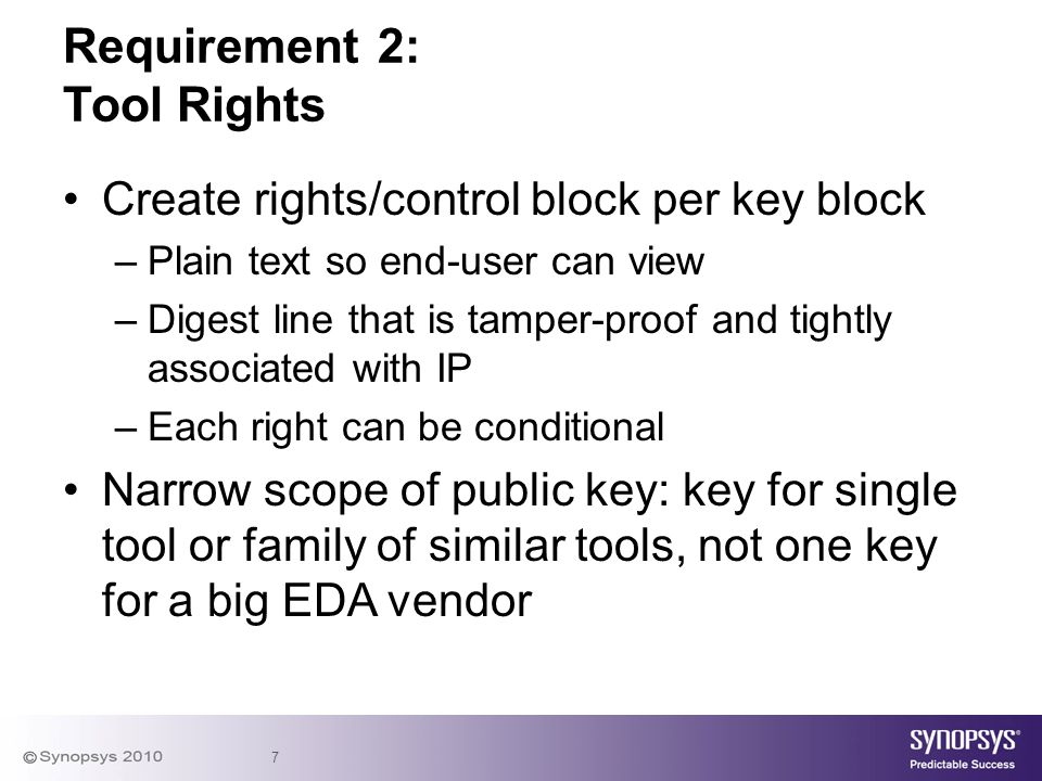 7 Create rights/control block per key block –Plain text so end-user can view –Digest line that is tamper-proof and tightly associated with IP –Each ri