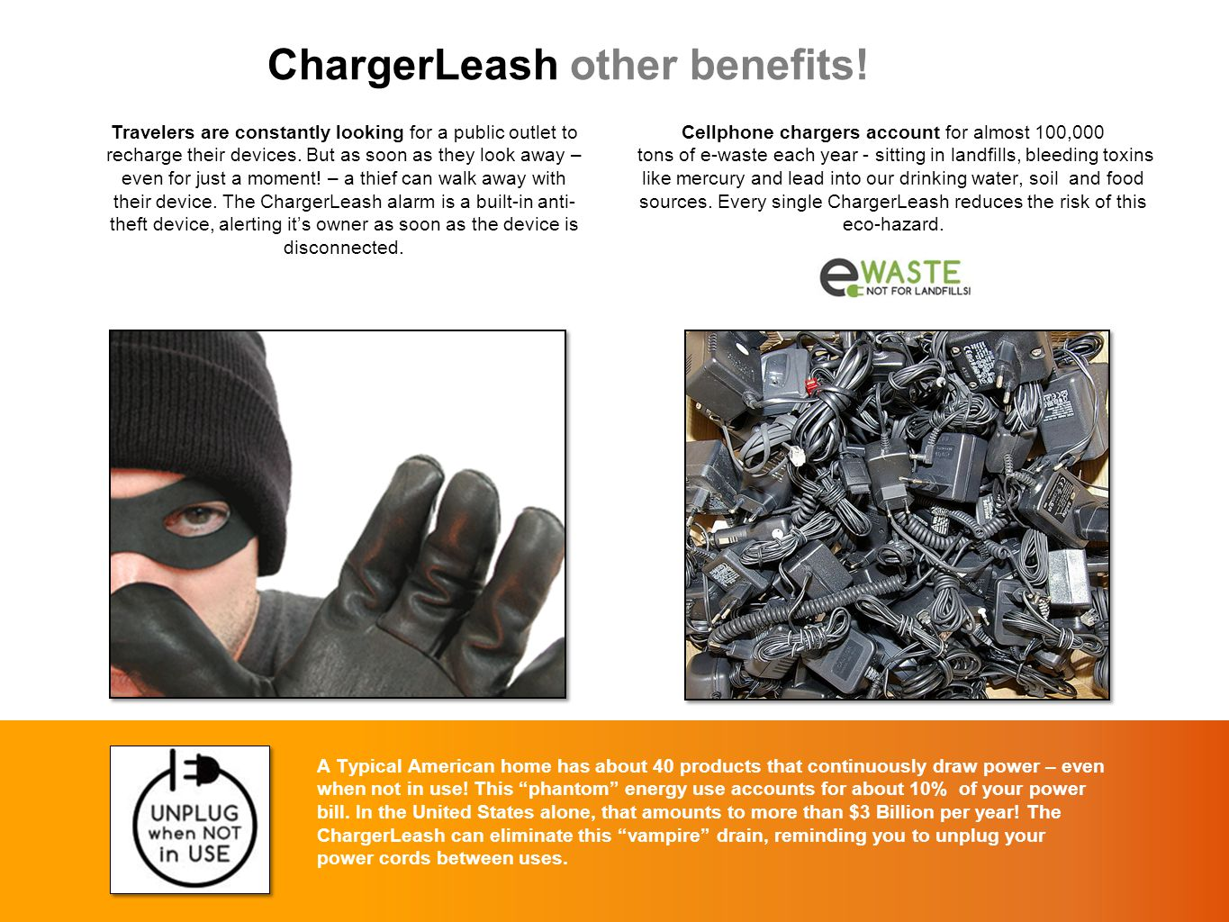 """ChargerLeash other benefits! A Typical American home has about 40 products that continuously draw power – even when not in use! This """"phantom"""" energy"""